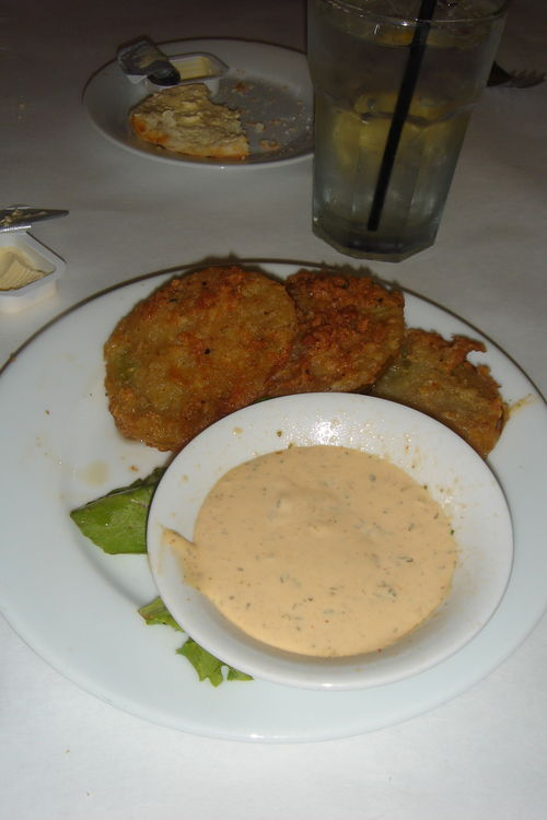 Fried green tomatoes with remoulade sauce at Poogan's Porch